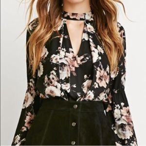 Floral Choker Neck Cutout Blouse